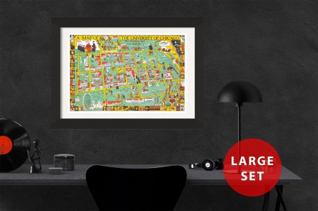 CHICAGO University map ILLINOIS  vintage wall art campus