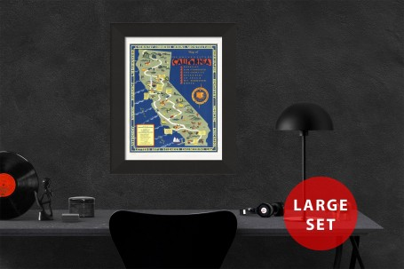 CALIFORNIA University map MAP Berkeley vintage wall art campus