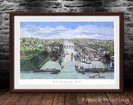 OSWEGO NEW YORK old city map poster print wall art