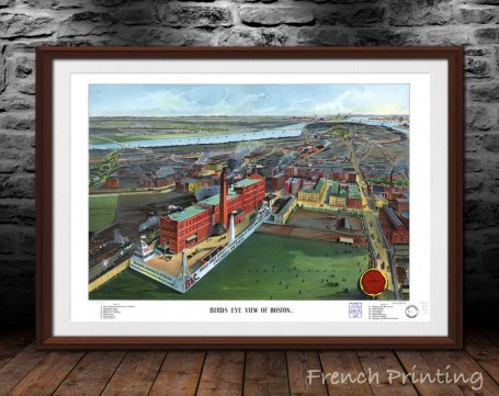 BOSTON MASSACHUSETTS old city map poster print wall art