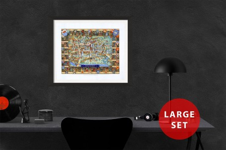 OXFORD university map ENGLAND vintage wall art campus