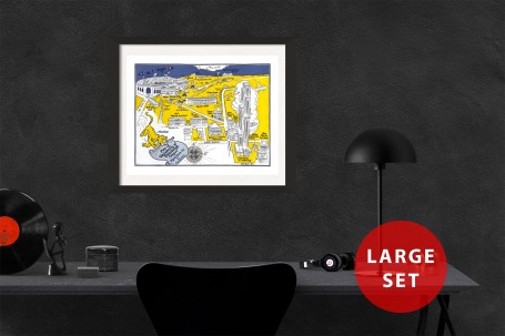 PITTSBURGH University map PENNSYLVANIA  vintage wall art campus