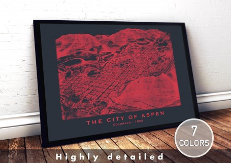 Wall art map ASPEN city COLORADO large wall art poster decoration wall art industrial chic city map modern vintage Home Decor