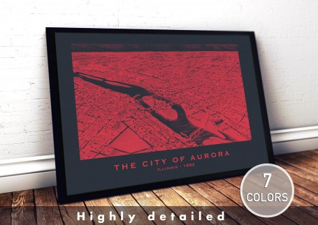Wall art map AURORA city ILLINOIS large wall art poster decoration wall art industrial chic city map modern vintage Home Decor
