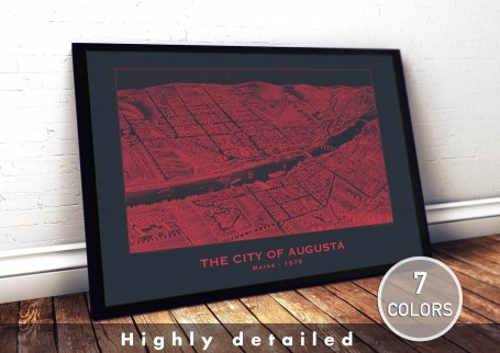 Wall art map AUGUSTA city MAINE large wall art poster decoration wall art industrial chic city map modern vintage Home Decor