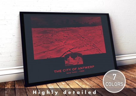 Wall art map ANTWERP city NEW YORK large wall art poster decoration wall art industrial chic city map modern vintage Home Decor