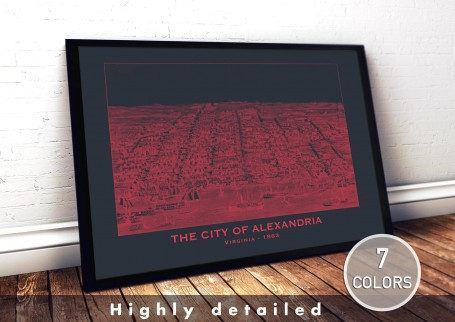 Wall art map ALEXANDRIA city VIRGINIA large wall art poster decoration wall art industrial chic city map modern vintage Home Dec