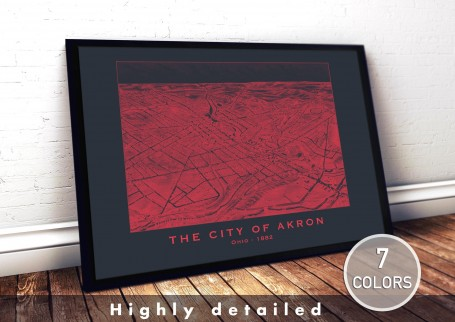 Wall art map AKRON city OHIO large wall art poster decoration wall art industrial chic city map modern vintage Home Decor