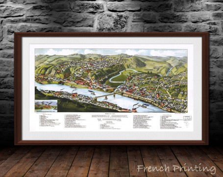 BROWNSVILLE BRIDGEPORT old city map poster print wall art