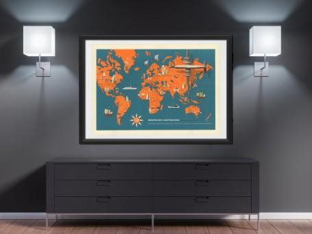 World map wall art Deutsche LUFTHANSA antique large print restored