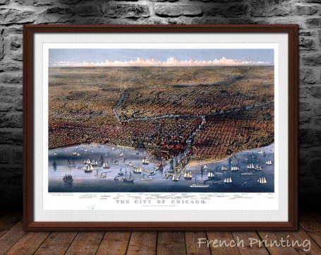 CHICAGO ILLINOIS 1874 old city map poster print wall art