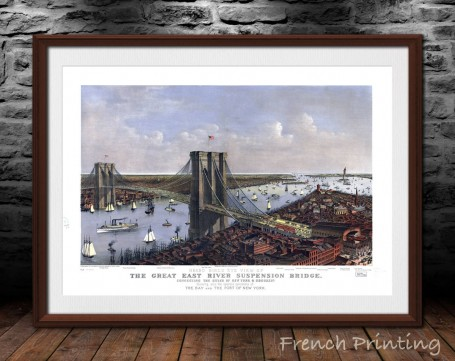 NEW YORK  East River BRIDGE old city map poster print wall art