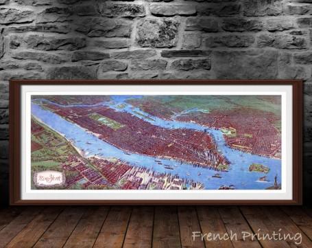 NEW YORK CITY Manhattan old city map poster print wall art