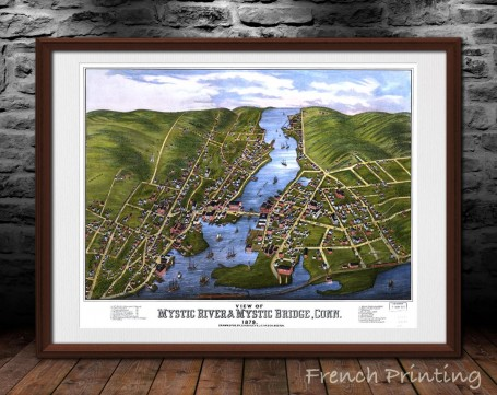 MYSTIC RIVER CONNECTICUT old city map poster print wall art