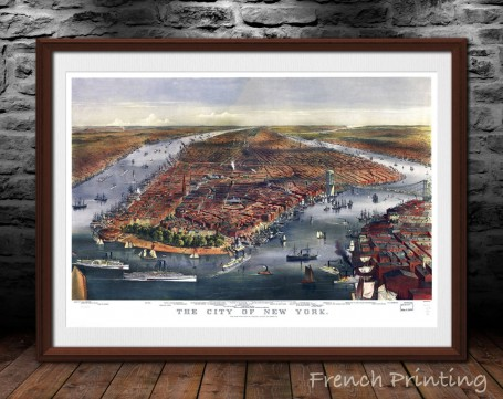 Gang of new york old city map poster print wall art