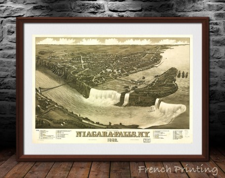 NIAGARA FALLS New-York old city map poster print wall art