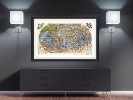 World map wall art 1565 antique large print restored