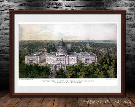WASHINGTON CAPITOL 1857 old city map poster print wall art