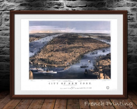 NEW YORK NYC old city map poster print wall art