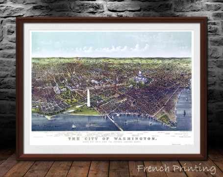 WASHINGTON old city map poster print wall art