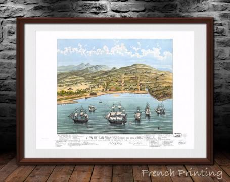 SAN FRANCISCO CALIFORNIA old city map poster print wall art