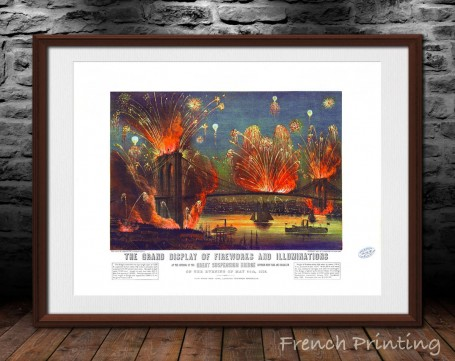 NEW YORK FIREWORKS old city map poster print wall art