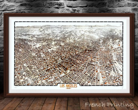 LOS ANGELES CALIFORNIA old city map poster print wall art
