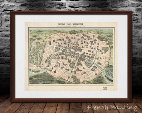 "Map art: ""PARIS MONUMENTS"" old map france, french, antique, vintage, ancient, large wall art, living room decoration, beige, gre"