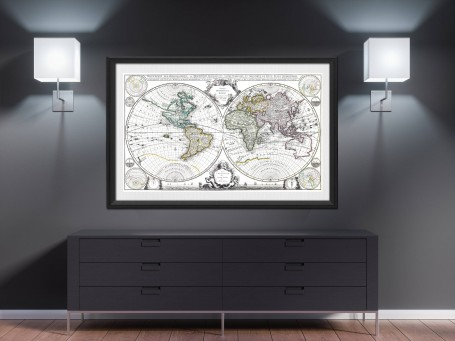 World map wall art 1632 antique large print restored