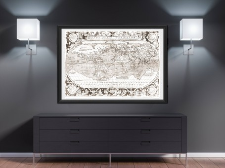 World map wall art 1603 antique large print restored