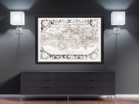World map wall art 1603 antique large print restored
