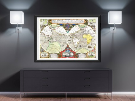 World map wall art 1577 antique large print restored
