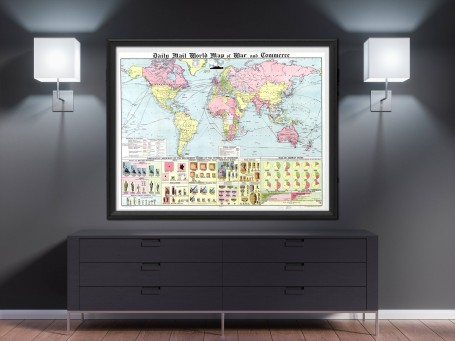 World map wall art 1934 antique large print restored