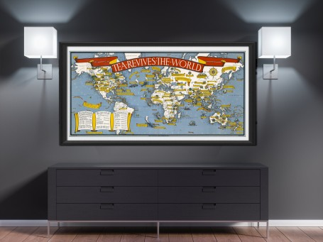 "World map wall art ""tea revives the world"" antique large print restored"