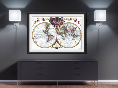World map wall art 1720 antique large print restored