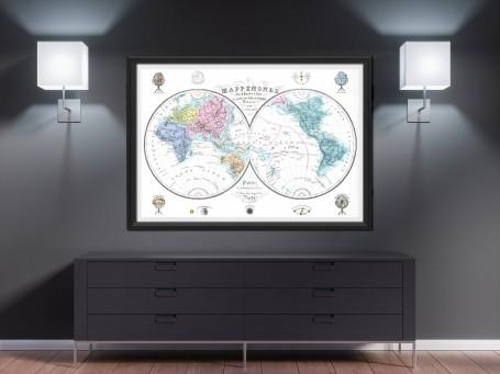 World map wall art 1876 antique large print restored