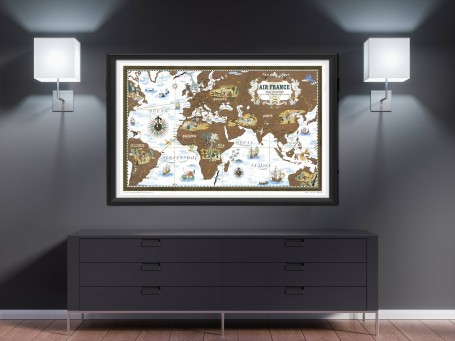 World map wall art 1939 air france antique large print restored