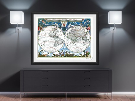 World map wall art 1760 antique large print restored