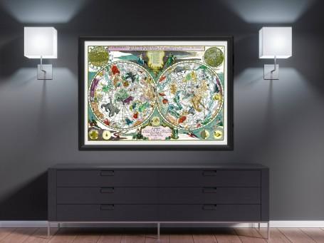 World map wall art 1705 antique large print restored