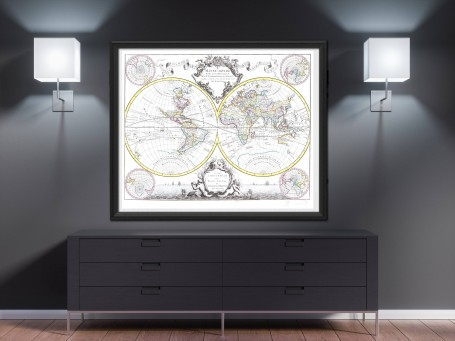 World map wall art 1665 antique large print restored