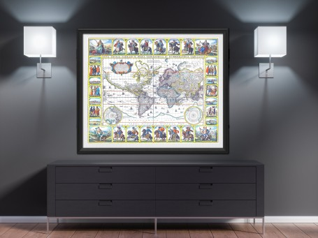 World map wall art 1652 antique large print restored