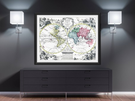 World map wall art 1714 antique large print restored