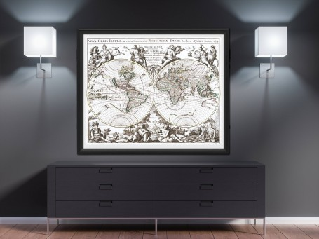 World map wall art 1694 antique large print restored