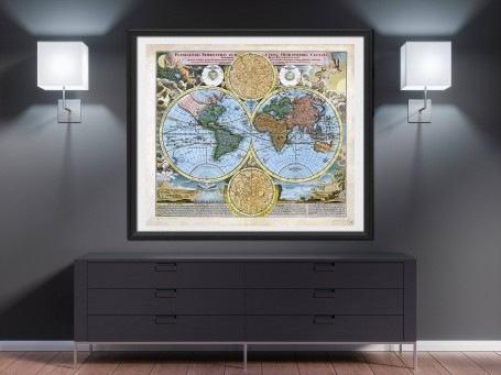 World map wall art 1716 antique large print restored