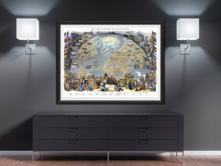 World map wall art 1876 antique large print restored