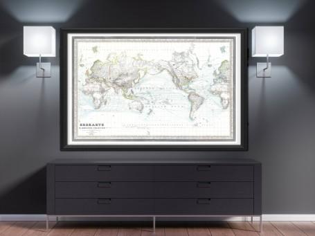 World map wall art 1856 antique large print restored
