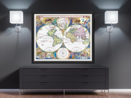 World map wall art 1690 antique large print restored