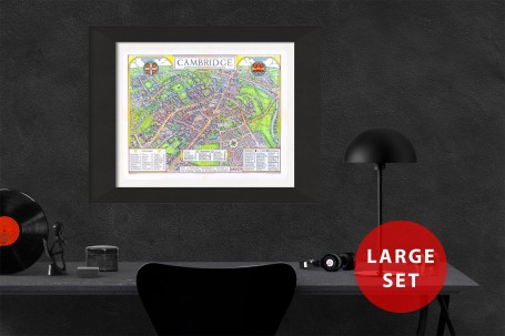 CAMBRIDGE University map ENGLAND vintage wall art campus