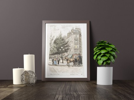 Paris wall art REFUGE RUE SEZE lithograph french antique