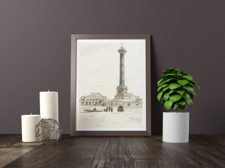 Paris wall art PLACE BASTILLE lithograph french antique